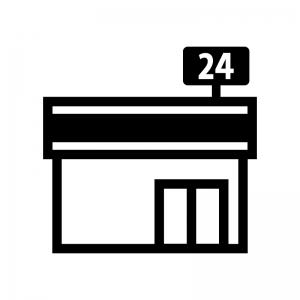 コンビニエンスストアの白黒シルエットイラスト02