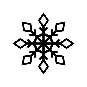 雪の結晶の白黒シルエットイラスト05