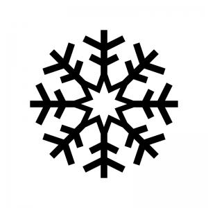 雪の結晶の白黒シルエットイラスト06