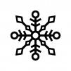 雪の結晶の白黒シルエットイラスト07