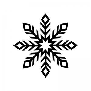 雪の結晶の白黒シルエットイラスト08