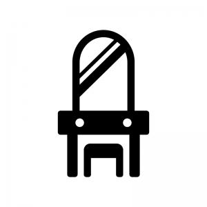 化粧台・鏡台の白黒シルエットイラスト