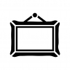 絵画の額縁の白黒シルエットイラスト02
