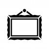 絵画の額縁の白黒シルエットイラスト03