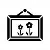 花の絵画の白黒シルエットイラスト