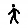 歩いている人の白黒シルエットイラスト02