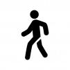 歩いている人の白黒シルエットイラスト03