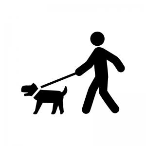 犬の散歩の白黒シルエットイラスト