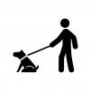 犬の散歩の白黒シルエットイラスト02