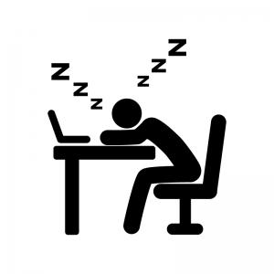 デスクで居眠りする人の白黒シルエットイラスト