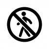 立ち入り禁止マークの白黒シルエットイラスト02