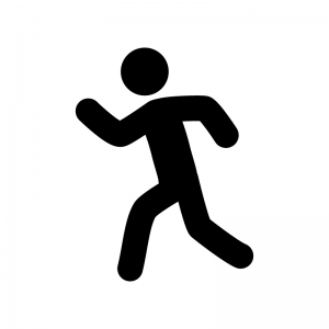 走っている人の白黒シルエットイラスト02
