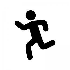 走っている人の白黒シルエットイラスト03