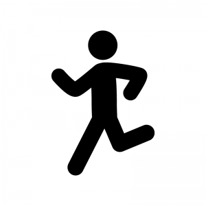 走っている人の白黒シルエットイラスト04