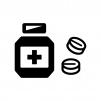 薬・錠剤の白黒シルエットイラスト02