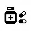 薬・カプセル錠の白黒シルエットイラスト02