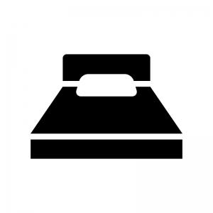 ベッドの白黒シルエットイラスト02