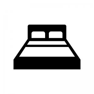 ベッドの白黒シルエットイラスト03