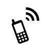 ガラケー・モバイル端末と電波のシルエット