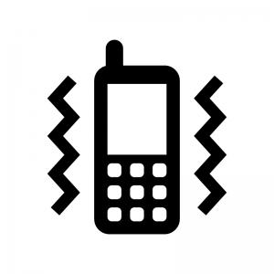携帯のマナーモードの白黒シルエットイラスト