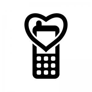 携帯のマナーモードの白黒シルエットイラスト02