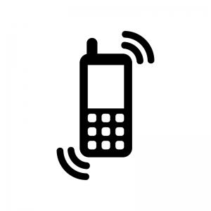 携帯のマナーモードの白黒シルエットイラスト03