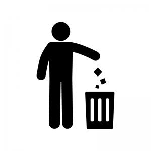 ゴミを捨てる人物の白黒シルエットイラスト