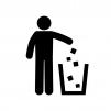 ゴミを捨てる人物の白黒シルエットイラスト02
