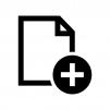 ファイルとプラスの白黒シルエットイラスト