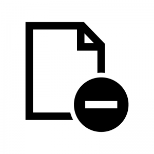 ファイルとマイナスの白黒シルエットイラスト