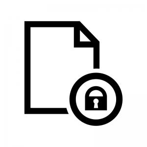ファイルと鍵マークの白黒シルエットイラスト02