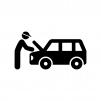 自動車の整備の白黒シルエットイラスト