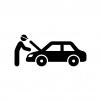 自動車の整備の白黒シルエットイラスト02
