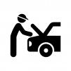 自動車の整備の白黒シルエットイラスト03