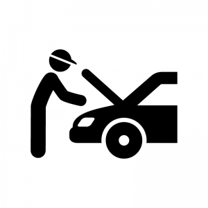 自動車の整備の白黒シルエットイラスト04
