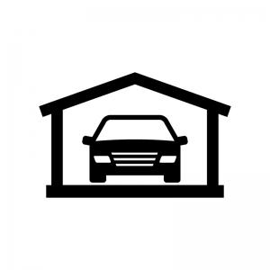 ガレージに入った車の白黒シルエットイラスト02