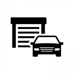 ガレージと車の白黒シルエットイラスト