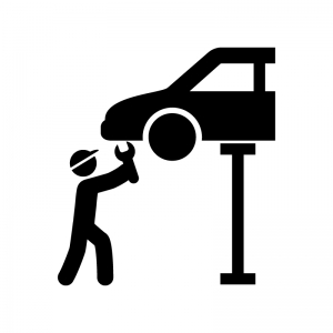 車をリフトアップして整備の白黒シルエットイラスト