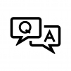 QAの吹き出しの白黒シルエットイラスト