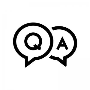 QAの吹き出しの白黒シルエットイラスト03