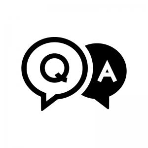 QAの吹き出しの白黒シルエットイラスト04
