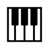 ピアノの鍵盤の白黒シルエットイラスト02