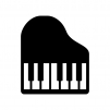 グランドピアノの白黒シルエットイラスト