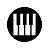 ピアノの鍵盤の白黒シルエットイラスト04