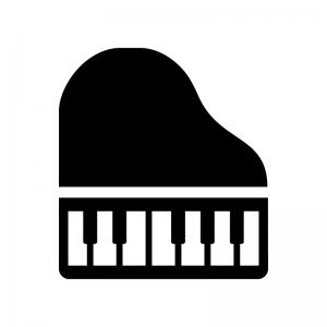 グランドピアノの白黒シルエットイラスト02