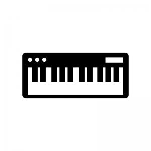 鍵盤キーボードの白黒シルエットイラスト