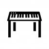 鍵盤キーボードの白黒シルエットイラスト02
