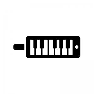 鍵盤ハーモニカの白黒シルエットイラスト02