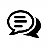 会話・トークの重なった吹き出しの白黒シルエットイラスト