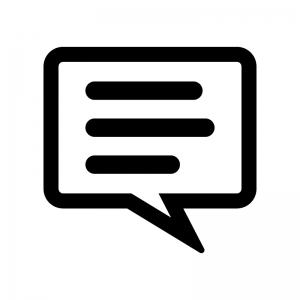 会話・トークの丸い吹き出しの白黒シルエットイラスト03